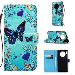 Love Butterfly Matte Leather Wallet Phone Case for Huawei Mate 30