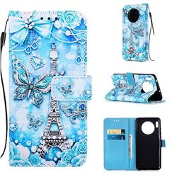Tower Butterfly Matte Leather Wallet Phone Case for Huawei Mate 30