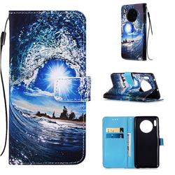 Waves and Sun Matte Leather Wallet Phone Case for Huawei Mate 30