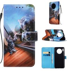 Mirror Cat Matte Leather Wallet Phone Case for Huawei Mate 30