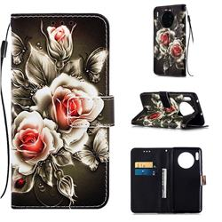 Black Rose Matte Leather Wallet Phone Case for Huawei Mate 30