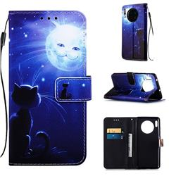 Cat and Moon Matte Leather Wallet Phone Case for Huawei Mate 30
