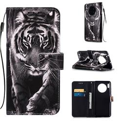 Black and White Tiger Matte Leather Wallet Phone Case for Huawei Mate 30