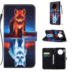 Water Fox Matte Leather Wallet Phone Case for Huawei Mate 30