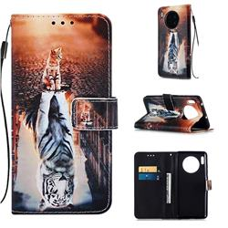 Cat and Tiger Matte Leather Wallet Phone Case for Huawei Mate 30