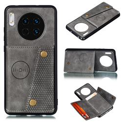 Retro Multifunction Card Slots Stand Leather Coated Phone Back Cover for Huawei Mate 30 - Gray