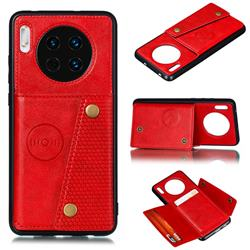 Retro Multifunction Card Slots Stand Leather Coated Phone Back Cover for Huawei Mate 30 - Red