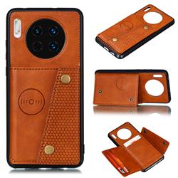 Retro Multifunction Card Slots Stand Leather Coated Phone Back Cover for Huawei Mate 30 - Brown