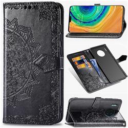 Embossing Imprint Mandala Flower Leather Wallet Case for Huawei Mate 30 - Black