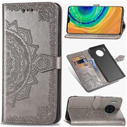 Embossing Imprint Mandala Flower Leather Wallet Case for Huawei Mate 30 - Gray