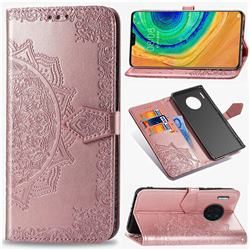 Embossing Imprint Mandala Flower Leather Wallet Case for Huawei Mate 30 - Rose Gold
