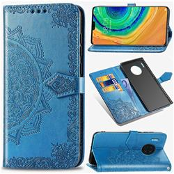 Embossing Imprint Mandala Flower Leather Wallet Case for Huawei Mate 30 - Blue