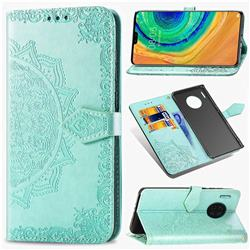 Embossing Imprint Mandala Flower Leather Wallet Case for Huawei Mate 30 - Green