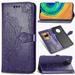 Embossing Imprint Mandala Flower Leather Wallet Case for Huawei Mate 30 - Purple