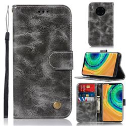 Luxury Retro Leather Wallet Case for Huawei Mate 30 - Gray