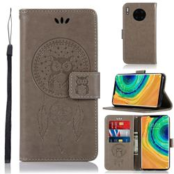 Intricate Embossing Owl Campanula Leather Wallet Case for Huawei Mate 30 - Grey