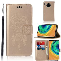 Intricate Embossing Owl Campanula Leather Wallet Case for Huawei Mate 30 - Champagne