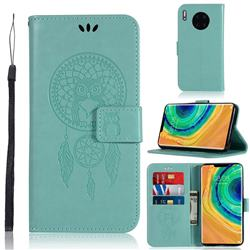 Intricate Embossing Owl Campanula Leather Wallet Case for Huawei Mate 30 - Green