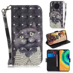 Cat Embrace 3D Painted Leather Wallet Phone Case for Huawei Mate 30
