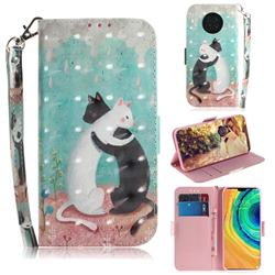 Black and White Cat 3D Painted Leather Wallet Phone Case for Huawei Mate 30