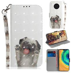 Pug Dog 3D Painted Leather Wallet Phone Case for Huawei Mate 30