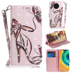 Butterfly High Heels 3D Painted Leather Wallet Phone Case for Huawei Mate 30