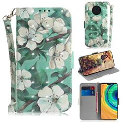 Watercolor Flower 3D Painted Leather Wallet Phone Case for Huawei Mate 30