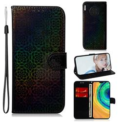 Laser Circle Shining Leather Wallet Phone Case for Huawei Mate 30 - Black