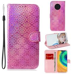 Laser Circle Shining Leather Wallet Phone Case for Huawei Mate 30 - Pink