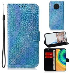 Laser Circle Shining Leather Wallet Phone Case for Huawei Mate 30 - Blue