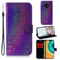 Laser Circle Shining Leather Wallet Phone Case for Huawei Mate 30 - Purple