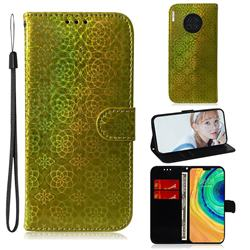 Laser Circle Shining Leather Wallet Phone Case for Huawei Mate 30 - Golden