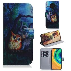 Oil Painting Owl PU Leather Wallet Case for Huawei Mate 30