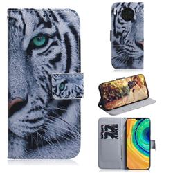 White Tiger PU Leather Wallet Case for Huawei Mate 30