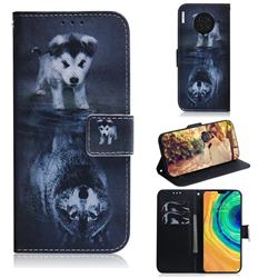 Wolf and Dog PU Leather Wallet Case for Huawei Mate 30
