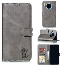 Embossing Happy Cat Leather Wallet Case for Huawei Mate 30 - Gray