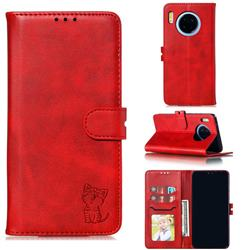 Embossing Happy Cat Leather Wallet Case for Huawei Mate 30 - Red