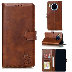 Embossing Happy Cat Leather Wallet Case for Huawei Mate 30 - Brown