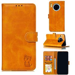 Embossing Happy Cat Leather Wallet Case for Huawei Mate 30 - Yellow