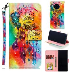 Flower Wind Chimes 3D Painted Leather Phone Wallet Case for Huawei Mate 30