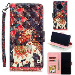 Phoenix Elephant 3D Painted Leather Phone Wallet Case for Huawei Mate 30