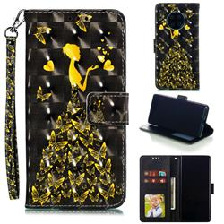Golden Butterfly Girl 3D Painted Leather Phone Wallet Case for Huawei Mate 30