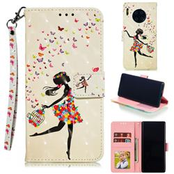 Flower Girl 3D Painted Leather Phone Wallet Case for Huawei Mate 30