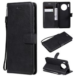 Retro Greek Classic Smooth PU Leather Wallet Phone Case for Huawei Mate 30 - Black
