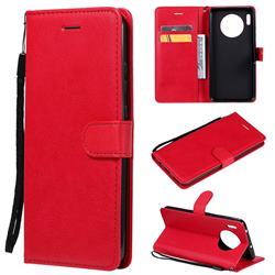 Retro Greek Classic Smooth PU Leather Wallet Phone Case for Huawei Mate 30 - Red