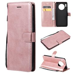 Retro Greek Classic Smooth PU Leather Wallet Phone Case for Huawei Mate 30 - Rose Gold