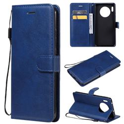 Retro Greek Classic Smooth PU Leather Wallet Phone Case for Huawei Mate 30 - Blue