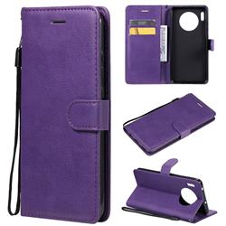 Retro Greek Classic Smooth PU Leather Wallet Phone Case for Huawei Mate 30 - Purple