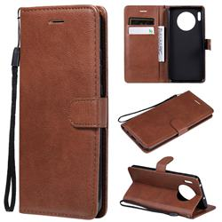 Retro Greek Classic Smooth PU Leather Wallet Phone Case for Huawei Mate 30 - Brown