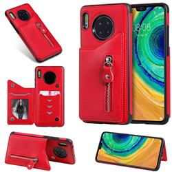 Retro Buckle Zipper Anti-fall Leather Phone Back Cover for Huawei Mate 30 - Red